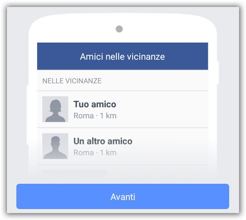 amici nelle vicinanze facebook come si attiva