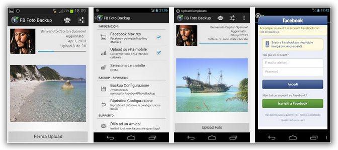 backup foto su account Facebook da smartphone