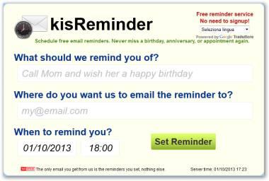 KissReminder email posticipate