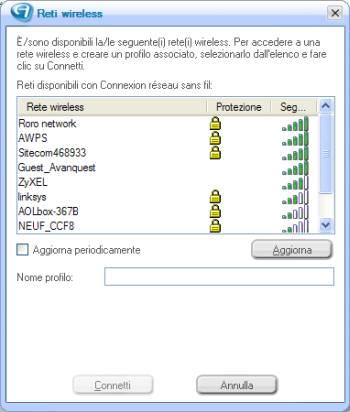 Memorizzare Configurazioni Wireless
