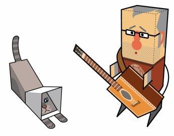 Ritagliare Cartoncino con Personaggi di Carta da Costruire