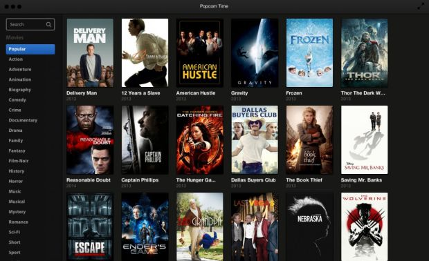streaming film e video popcorn time