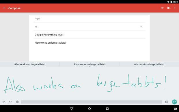 scrittura a mano libera su Android