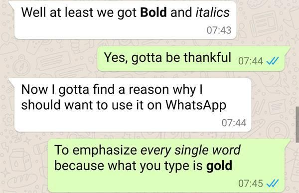 aggiornamento bold ed italico Whatsapp