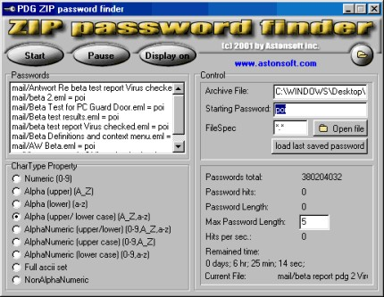 Recuperare Trovare Password File Zip