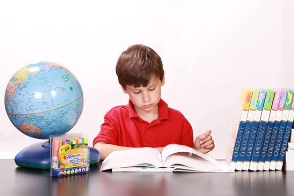 immagine di bambino che studia su un libro