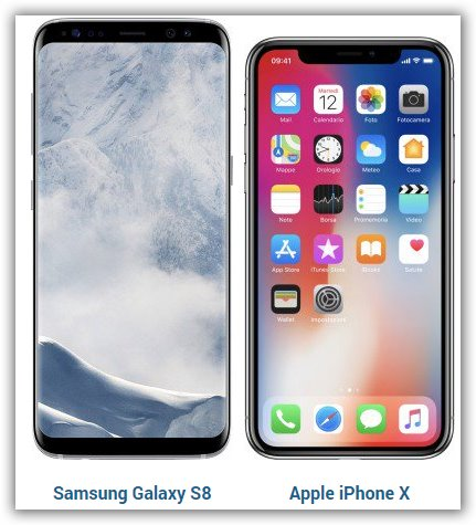 confronto iPhone x contro Samsung S8