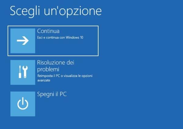 modalità provvisoria in windows 10