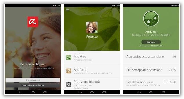 immagine di avira antivirus per Android